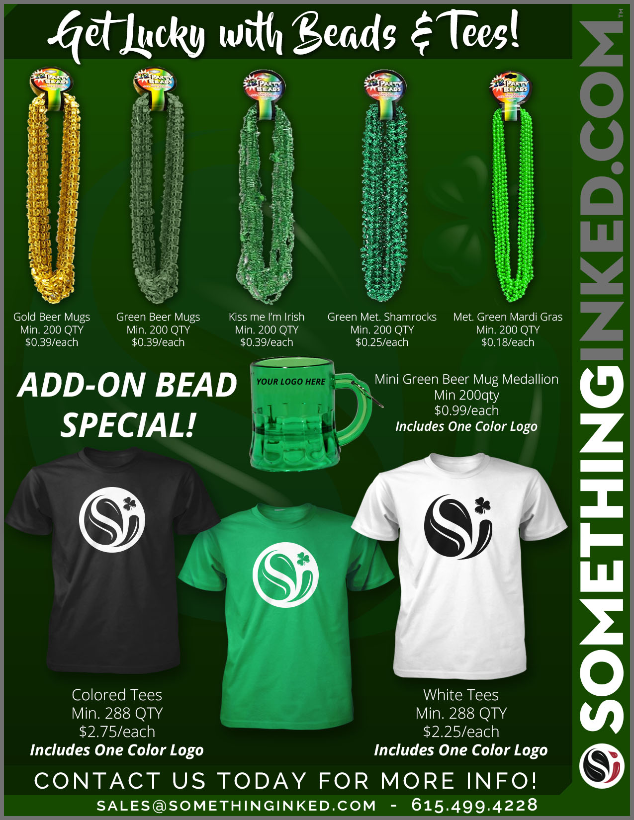 St. Patrick's Day Beads and Tees